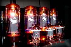 vacuum tubes in use and glowing